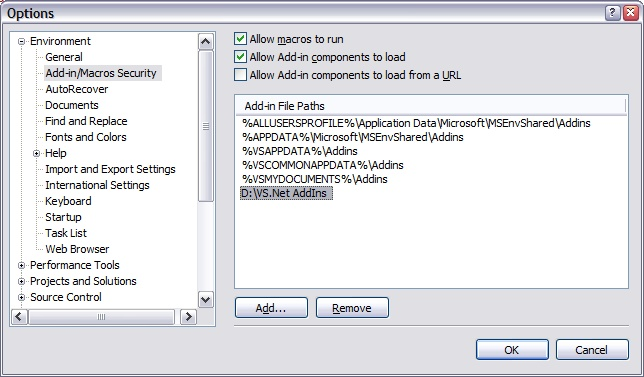 VS.Net 2005 AddIns settings