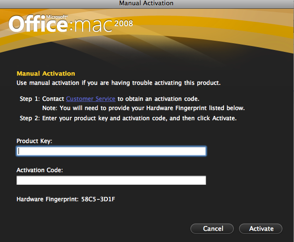 Office Mac 2008 Activation screen